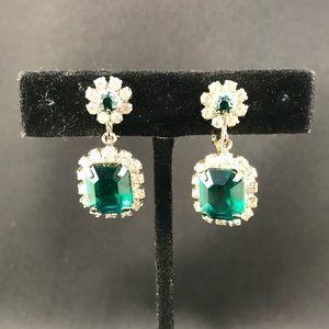 Vintage green rhinestone dangle clip earrings